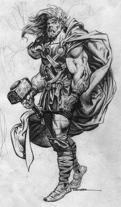 line Sketch thor warrior hammer viking beard Comic Book Characters, Comic Character, Comic Books Art, Comic Art, Book Art, Marvel Characters, Marvel Art, Marvel Comics, Thor Marvel