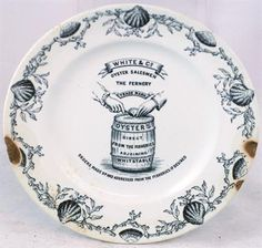 WHITSTABLE OYSTER PLATE. 7.75ins diam, black pict. transfer - oysters adorn border, hands above