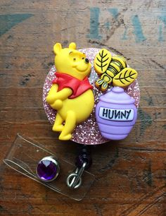 Winnie The Pooh* ID Badge, RN Reel, Holder or Pen Holder with Clip for Work, Conventions, Etc. Cute Polymer Clay, Polymer Clay Projects, Resin Crafts, Badge Holder Clips, Badge Reel, Disney Diy, Disney Crafts, Winnie The Pooh, Tapas