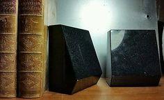Heavy black striking reflective bold geometric sparkle stone bookends set of 2