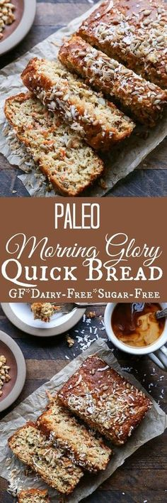 Paleo Morning Glory Quick Bread - a grain-free, refined sugar-free, and healthy recipe paleo dessert with dates Paleo Dessert, Paleo Sweets, Low Carb Recipes, Baking Recipes, Whole Food Recipes, Healthy Recipes, Quick Recipes, Jello Recipes, Healthy Nutrition