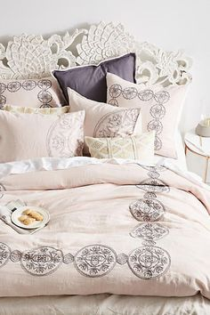 Shop Anthropologie's duvet covers in full, queen & king sizes. Boho styles & the latest trends in bold prints, linen fabrics, embroidered textures & more. Farmhouse Bedding Sets, Farmhouse Bedroom Furniture, Farmhouse Style Bedrooms, Home Furniture, Master Suite, Master Bedroom, Bedroom Wardrobe, White Bedroom, Cute Bedding