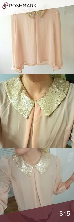 Sequin Collar Blouse Blush pink semi-sheer blouse with gols sequined Peter Pan style collar. It's beautiful, I don't know why I wore a black shirt under but definitely looks better with white, nude or a bralette. Size M. WINDSOR Tops Blouses