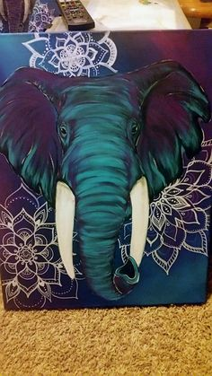 Boho Elephant Art, Custom Elephant painting with mandalas.