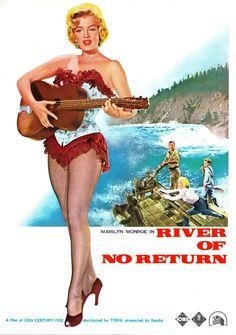 """River of No Return"" - Marilyn Monroe, Robert Mitchum and Rory Calhoun. Japanese Film Program, 1954."