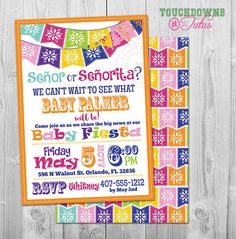 Mexican Fiesta Gender Reveal Invitation, Senor or Senorita Gender Reveal Party #cincodemayo #fiesa #genderreveal