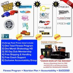 """I offer a 90 Day Challenge Support Group, when you purchase one of these great discounted Fitness Packs from Team Beachbody! You get the Total Package! At Home Fitness Program, 1 month supply Shakeology, """"The Healthest Meal Of The Day"""", 30 Day Free Club Membership, Free Shipping! Accountability Group with private Facebook page to interact with your other Challengers & Me your Free Team Beachbody Coach! Contact me for more infromation! I have a group forming now!"""
