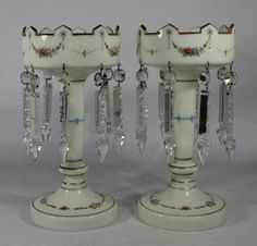 victorian lustres | PAIR OF VICTORIAN LUSTRES.