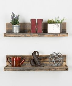 Another great find on #zulily! Barnwood Floating Shelves - Set of Two #zulilyfinds