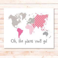 world map pink and grey nursery print polka dots chevron baby