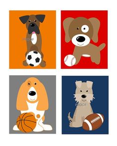 """Nursery Art prints Dogs and Sports Theme, Set of Four 8x10"""" prints on Etsy, $55.00"""