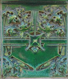 Louis H. Sullivan (1856-1924). Organic Art Pottery Tile. On a Bank Building in West Lafayette, Indiana.
