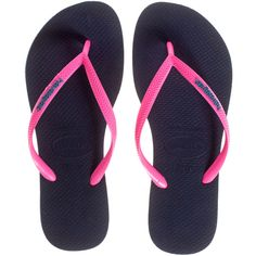 9bdf50c7932564 HAVAIANAS Slim Navy Rose    Rubber thong sandals (975 UYU) ❤ liked on Polyvore  featuring shoes