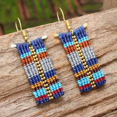 Funky woven tribal pattern cotton earrings with by cafeandshiraz