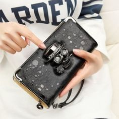 Hot Fashion Women Retro Punk Style Rhinestone Card Holder Purse Clutch Wallet