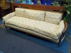 Vintage Antique French Sofa  $375. Gorgeous antique french sofa. Soft cream color with an elegant checkered pattern. Down filled cushion for amazing comfort. Very high quality!