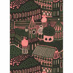 Marimekko Kumiseva Green Fabric Repeat Printed in Finland with Katsuji Wakisaka's stylish city scene, this heavyweight cotton fabric by Marimekko adds urban historic style to any space. Pink Fabric, Green Fabric, Cotton Fabric, Marimekko Fabric, Scandinavia Design, Urban Beauty, City Scene, Modern Fabric, Print Patterns