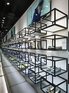 Artifacts nanshi store by straight square design, taipei store design shoe display, visual display Geometric Patterns, Visual Merchandising, Shop Interior Design, Home Design, Taipei, Vitrine Design, Design Commercial, Retail Store Design, Retail Shop