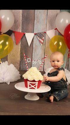 birthday cake smash with a barn theme -Tracey Elizabeth Photography Farm Yard Birthday Party, Smash Cake First Birthday, Boys 1st Birthday Cake, Animal Birthday Cakes, Farm Animal Birthday, Birthday Themes For Boys, Boy Birthday Parties, Farm Party, Birthday Ideas