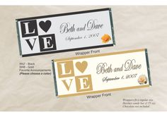 Personalized Candy Bar Wrapper for Wedding Favors - LOVE Blocks Black W47 (Qty 12 wrappers only and 12 silver foil sheets) - TheWeddingMile.com