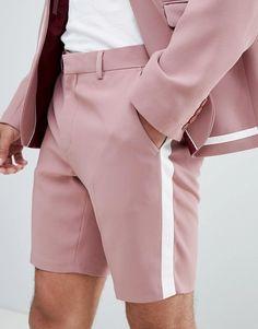 ASOS DESIGN skinny suit shorts in pink with white trim Blazer Outfits Men, Blazer And Shorts, Shorts For Men, Man Shorts, Mens Fashion Suits, Mens Suits, Pink Suit Men, Short Rosado, African Dresses Men