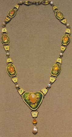 Gold, Mexican opal, pearl and enamel necklace, by Louis Comfort Tiffany, circa 1907. Designed by Louis Comfort Tiffany with Julia Munson.