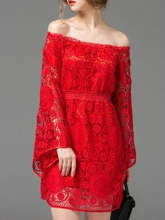Red+Off+The+Shoulder+Crochet+Hollow+Out+Dress+61.99