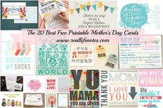 Love these options! Free Printable Mother's Day Cards, 20 Best Free Mother's Day Cards