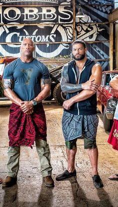 Legendary WWE Superstar The Rock (Dwayne Johnson) with his cousin WWE Superstar Roman Reigns (Joe Anoa'i) on the set of their New movie. #WWE #wwefamilies #samoandynasty #wrestling #wrestler