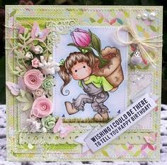 A Sprinkling of Glitter: Tilda With Big Tulip Pot - Simon Says Stamp DTC Card