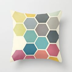 Society6 - seriously cool range of cushions and other funky stuff. Honeycomb II Throw Pillow