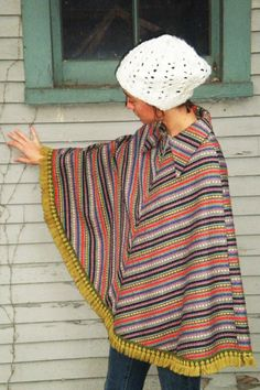 Colorful striped woven collared zip up fringe poncho size medium