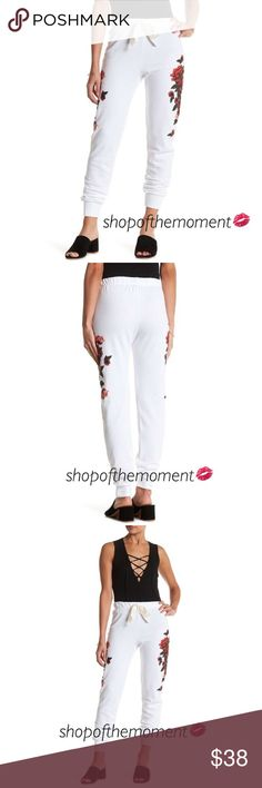 """🌹🆕 On Trend! ✦ Rose Print Joggers ✦ in White ✦ Rose Print Joggers in White Brand New with Tags  🌹🌹🌹🌹🌹🌹🌹🌹🌹🌹🌹🌹  A stunning floral motif adds a feminine vibe to this comfy jogger rendered in soft sweatshirt material. Elasticized drawstring waist. Simply spectacular!     ApproxImate Measurements: Rise: 11"""" Inseam: 30"""" (size S) Fabrication: 68% cotton/32% polyester Hand wash cold  🌹🌹🌹🌹🌹🌹🌹🌹🌹🌹🌹🌹  ✗ Drama ✗ Trades ⚡️Fast Shipper ☆☆☆☆☆ 5 star seller  💋 Smooches, D Shop of…"""