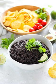Quick and easy No-Soak Instant Pot Black Beans! This recipe takes all of five minutes to prepare and just 25 minutes in the Instant Pot for perfectly cooked spicy black bean ragout. Serve it with tacos, over rice, or as a topping for vegan nachos. Vegan Side Dishes, Healthy Dishes, Vegetarian Mexican Recipes, Vegan Nachos, Pressure Cooker Recipes, Vegetable Dishes, Black Beans, Instant Pot, Spicy