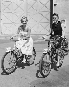 shelley-fabulous:  Jane Powell and Debbie Reynolds on the M-G-M lot, during the filming of Athena, 1954.