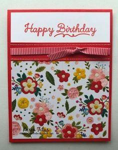 Simple Birthday Cards, Birthday Cards For Women, Bday Cards, Handmade Birthday Cards, Happy Birthday Cards, Greeting Cards Handmade, Simple Handmade Cards, Card Birthday, Stampin Up Karten