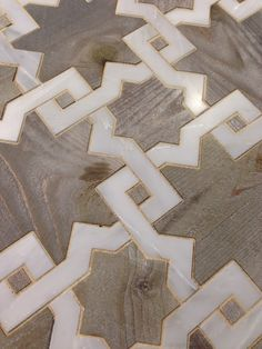 Antiqued wood and calacatta mosaic #flooring #rugs #naturalarearugs.com