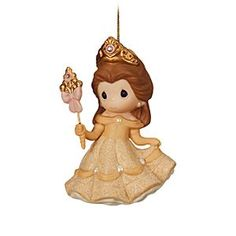 Belle Figurine Ornament by Precious Moments | Disney Store Add Beauty to your holiday decorations in the form of this charming Belle ornament. Crafted in porcelain bisque, ''Your Beauty Shines From Within'' is accented with sparkling gems and comes complete with gold cord for hanging.