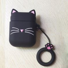 3D CAT Shockproof Protective Premium Silicone Cover Skin for AirPods Charging Case 2 - Black Beard Cat 2