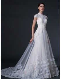 Dreaming high collar cap sleeve keyhole at back  flowers appliqued lace appliques a-line tulle court train  real sample lace wedding dresses with 2014 TB-271
