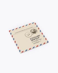 Paper Envelope Mockup - Back Half Side View (High-Angle Shot)