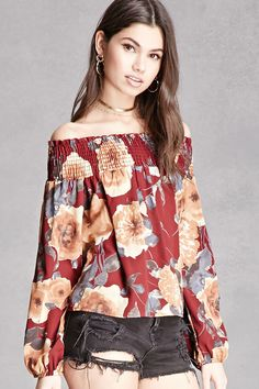 Open Tie-Sleeve Floral Blouse