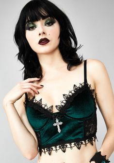 Widow Morphine Eyes Velvet Bra cuz one look at you N' they're paralyzed… They're addicted to your aura in this velvet underwire bra top that has lace trim, a cross pendant, adjustable straps and back hook closures. Lace Up Skirt, Lace Bustier, Lace Tank, Steam Punk, Velvet Bra, Lace Shrug, Satin Bra, Concert Tees, Look At You