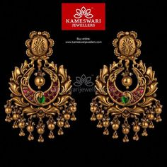 Mesmerizing collection of gold earrings from Kameswari Jewellers. Shop for designer gold earrings, traditional diamond earrings and bridal earrings collections online. Gold Jhumka Earrings, Buy Earrings, Jewelry Design Earrings, Gold Earrings Designs, Gold Jewellery Design, Designer Earrings, Earrings Online, Gold Jewelry, Antique Earrings