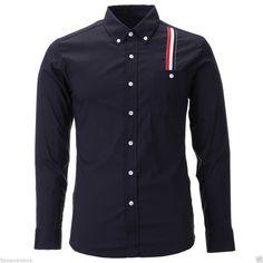 FLATSEVEN Mens Slim Fit Stripe Patched Casual Dress Shirts (SH177) #FLATSEVEN #mensfashion #clothing