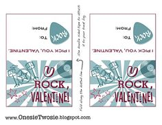 """Onesie Twosie: Free Valentine """"You Rock"""" Card Printable! Love Valentines, Valentine Crafts, Valentine Music, Holidays With Kids, Holidays And Events, Happy Holidays, Rock Star Theme, Valentine's Day Printables, Printable Cards"""