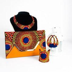 Enjoygram African Accessories, African Jewelry, African Inspired Fashion, African Print Fashion, Fabric Necklace, Fabric Jewelry, African Textiles, African Fabric, African Print Dresses