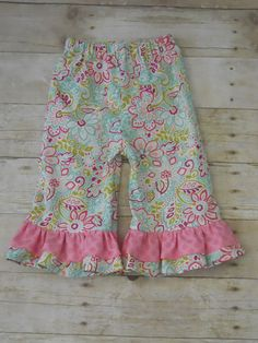 Ruffles Galore Boutique Girls Pants--Light blue and pink floral --Sizes 3 months-10 years