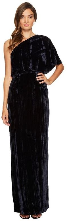 Adrianna Papell One Shoulder Long Crushed Velvet Gown Women's Dress