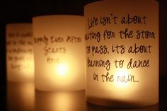 quote luminaries - maybe guests could write and they be collected and put outside along courtyard